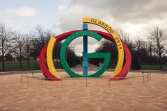 Glasgow 2014 Commonwealth Games sculpture in Glasgow Green royalty free stock images