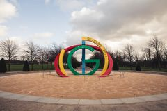 Glasgow 2014 Commonwealth Games sculpture in Glasgow Green stock photos