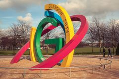 Glasgow 2014 Commonwealth Games sculpture in Glasgow Green stock photography