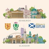 Glasgow and Edinburgh. Scotland travel vector in modern style. Scottish landscapes. Colorful detailed illustration with scottish national objects Royalty Free Illustration
