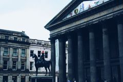 Glasgow horse statue. With cone on head Stock Photos