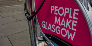 Glasgow III. A picture of the Glasgow city's slogan stamped in a bike Stock Images