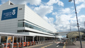 Glasgow International Airport. Front entry with blue sky and clouds in the background Stock Photos