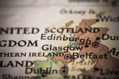Glasgow on map Royalty Free Stock Photos