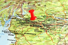 Glasgow on map with pointer Royalty Free Stock Image