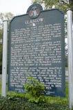 Glasgow Missouri History tecken Fotografering för Bildbyråer