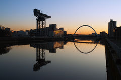 Glasgow morning. Finneston Crane and the Clyde Arc bridge in Glasgow in morning light stock photos