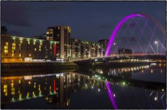 Glasgow by night. Photos taken at night in Glasgow-February 2018 on the clyde river Royalty Free Stock Photo