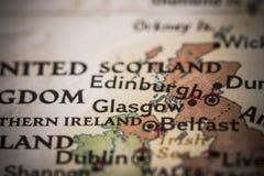 Glasgow no mapa Fotos de Stock Royalty Free