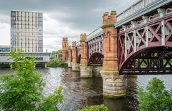 Caledonian Railway Bridge in Glasgow, Scotland. Glasgow is a port city on the River Clyde in Scotland`s western Lowlands Stock Images