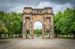 McLennan Arch in Glasgow green park, Scotland. Glasgow is a port city on the River Clyde in Scotland`s western Lowlands Stock Photo