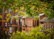Glasgow Red Sandstone Tenements. Row of Red Sandstone Tenement Flats Southside of Glasgow stock photo