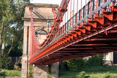Glasgow Red Suspension Bridge. Red suspension bridge over the clyde Royalty Free Stock Photo