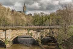 Glasgow River Kelvin. Glasgow university main building overlooks the river Kelvin in the west end of Glasgow, Scotland Royalty Free Stock Photography