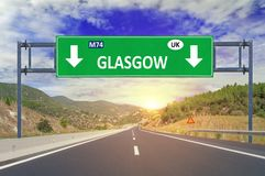 Glasgow road sign on highway. Close Royalty Free Stock Photo