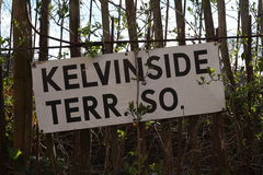 Glasgow road sign. Glasgow scotland road sign kelvinside terrace Stock Photo