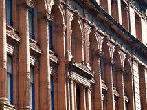 Glasgow`s Victorian Architecture: details from red sandstone com. Glasgow Scotland`s Victorian Architecture: columns, decorated friezes and lintels from an 1895 Stock Photography