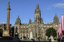 GLASGOW, SCHOTLAND, HET UK - 07 AUGUSTUS, 2015: mening van George Square in Glasgow stock foto