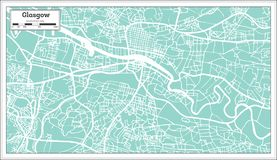 Glasgow Scotland City Map nel retro stile illustrazione vettoriale