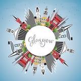 Glasgow Scotland City Skyline avec des bâtiments de couleur, ciel bleu et illustration de vecteur