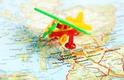 Glasgow Scotland; Great Britain map airplane. Glasgow Scotland  ,United Kingdom  map airplane   and  pin - Travel concept Royalty Free Stock Photos