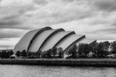 Armadillo SECC Glasgow. Glasgow, Scotland - July 7th, 2017: The Armadillo at the Scottish Exhibition and Conference Center, and the River Clyde in Glasgow Royalty Free Stock Photography