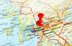 Glasgow Scotland; Mappa della Gran Bretagna Fotografia Stock Libera da Diritti
