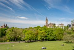 Glasgow, Scotland - May 19, 2018: Kelvingrove park in late spring; People enjoying the sunny spring days in Kelvingrove park; view stock photography