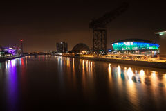 Glasgow. SCOTLAND - SEPTEMBER 17, 2014: the Hydro Arena and Clyde Auditorium reflecting on the River Clyde on October 17, 2014 in , Scotland. The Hydro Arena royalty free stock image