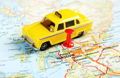 Glasgow scotland taxi map. Glasgow Scotland  ,United Kingdom  map taxi   and  pin - Travel concept Stock Photography