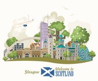 Glasgow. Scotland travel vector in modern style. Scottish landscapes. Colorful detailed illustration with scottish national objects Stock Illustration