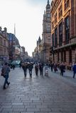 Looking Down Buchanon St, in the City Centre of Glasgow stock images