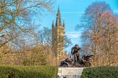 Over a War Memorial to the Spiers of Glasgow University royalty free stock photography