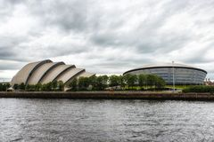 Glasgow Auditorium and SSE Hydro. Glasgow, Scotland, UK - July 07, 2017: The SEC Armadillo and SSE Hydro Arena make up two parts of the Scottish Event Campus SEC Royalty Free Stock Photos