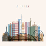 Glasgow skyline poster. Royalty Free Stock Photography