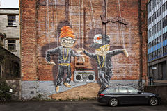 Glasgow stadsväggmålning Fotografering för Bildbyråer