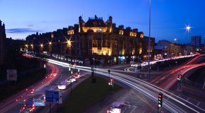 Glasgow streets at night Royalty Free Stock Photo