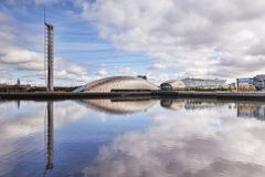 Glasgow Tower and Science Museum Reflection. 19 September 2015: Glasgow, Scotland - The Glasgow Tower, the Science Centre, the Imax Cinema and BBC Scotland HQ royalty free stock photo
