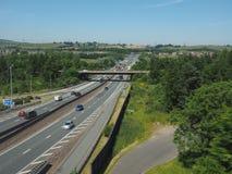 M8 motorway connecting Glasgow and Edinburgh in Glasgow. GLASGOW, UK - CIRCA JUNE 2018: M8 motorway connecting Glasgow and Edinburgh stock photos