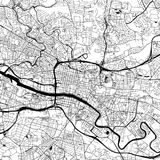 Glasgow, UK Downtown Vector Map. Glasgow Downtown Vector Map Monochrome Artprint, Outline Version for Infographic Background, Black Streets and Waterways Royalty Free Stock Images