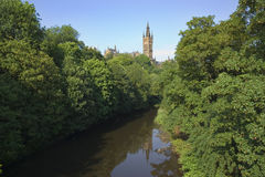 Glasgow university. The gothic tower of Glasgow University overlooking the River Kelvin stock photos