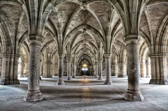 Glasgow University Cloisters. The historic Cloisters of Glasgow University. Dramatic and gritty bleach bypass processing stock photography