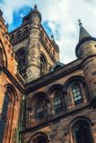 Glasgow University`s architectual details. Glasgow University`s towers built in the 1870s in the Gothic revival style Royalty Free Stock Image