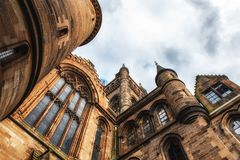 Glasgow University`s architectual details. Glasgow University`s towers built in the 1870s in the Gothic revival style Royalty Free Stock Photography