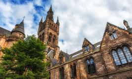 Glasgow University`s architectual details. Glasgow University`s towers built in the 1870s in the Gothic revival style Stock Image