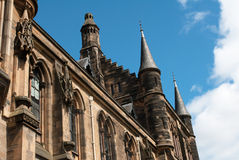 Glasgow University's towers. In the 1870s in the Gothic revival style Royalty Free Stock Image