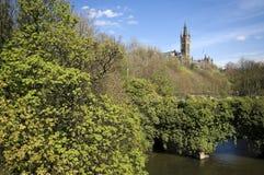 Glasgow University tower. Viewed over the bridge on the River Kelvin in Glasgow, Scotland, UK, Europe Stock Image