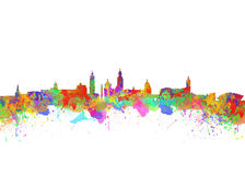 Glasgow Watercolor  skyline Stock Photos