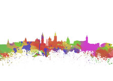 Glasgow Watercolor  skyline Stock Images