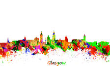 Glasgow Watercolor  skyline Stock Photography